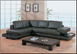 Modern Dark Brown Leather Sectional with Wood boards By Global Furniture ( 729 ) (SKU: GL-729-SECWSET)
