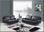 Black Bonded Leather 3 PC Armless Sofa Set (Sofa, Loveseat and Chair)