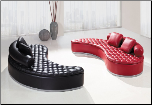 Unique Modern Sofa in Black or Red (SKU: GL-UA005-SECTIONAL)
