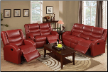 Poundex Modern Red Bonded Leather Reclining Motion Loveseat F6657 (SKU: PXSS-F6657/8/9)