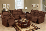 Poundex Modern Style Saddle Microfiber Reclining Motion Set F6667/8/9 (SKU: PXSS-F6667/8/9)