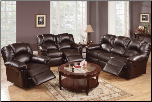 Poundex Modern Style Espresso Bonded Leather Reclining SET F6674/5/6 (SKU: PXSS-F6677/8/9)