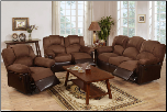 Poundex Modern Style Espresso Bonded Leather Reclining SET F6671/72/73 (SKU: PXSS-F6681)