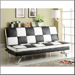 Coaster Furniture 300225 Click Clack Retro Faux Leather Checked Sofa Bed