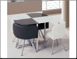 Compact Contemporary Stylish Metal and Glass Dinette Set by Global Furnither USA