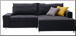 J & M Sofa Bed Sectional with Chaise, Charcoal Fabric - K51 (SKU: JM-K51)