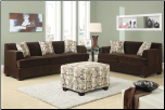 poundex  Banford Collection Chocolate Velvet Microfiber upholstered  Living Room set  with reversible chaise (SKU: PXSS-F7438)