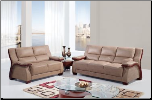 Bonded Leather 3 PC Sofa Set with Decorative Wood Trim on Arms (Sofa, Loveseat and Chair)