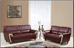 Brown Bonded Leather Sofa/Loveseat  with Beige Trim on Arms