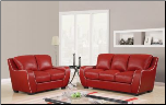 RED Bonded Leather 3 PC Sofa Set with White Trim (Sofa, Loveseat and Chair) (SKU: GL-U8080-RED)