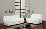 White  Bonded Leather 3 PC Sofa Set with White Trim (Sofa, Loveseat and Chair) (SKU: GL-U8080-White)
