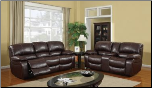 Burgundy Bonded Leather 2 PC Reclining Sofa Set (Sofa and Loveseat)