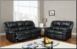 Black Bonded Leather 3 PC Reclining Sofa Set with Accent Stitching (Sofa, Loveseat and Recliner) (SKU: GL-U9966)