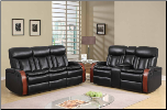 U9673 Reclining Living Room Set in Black Leather Gel (SKU: GL-U9673)