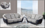 Two-Tone Grey and Black 3 PC Sofa Set (Sofa, Loveseat and Chair) (SKU: GL-U6018)