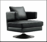 Chocolate /Black/ White Leather Sloped Back Swivel Chair, J&M (SKU: JM-MM35202)