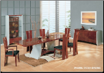 Rosa -    	Mahogany and Silver Finished Dining Room Set By Global Furniture USA (SKU: GL-Rosa-DSET)