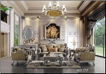 Luxury Traditional Living Room Upholstery Set With Carved Wood Details HD-272