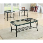 Coaster Furniture 701560 Set of 3 Occasional Tables in Cappuccino with Tempered Glass Tops (SKU: CO-701560)