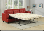 Diamond Red Bonded Leather Sofa with Queen Sleeper