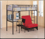 Black Contemporary Bunk Bed w/Desk, Chair and Futon Chair