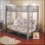 Bunks Twin Over Futon Metal Bunk Bed by Coaster