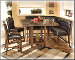 Lacey -  Luxurious Dark Brown Dining Room Counter Table Set by Ashley Furniture
