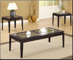 3 Piece Table Set with Glass Insets by Coaster