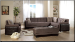 Roma 3 Pcs Sectional Set in Amiral Brown Fabric - Sunset Furniture-Istikbal (SKU: IS-Roma-Set-BR)