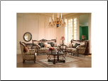 Traditional European Design Formal Living Room Sofa Set w/ Carved Wood Accents MCHD-15 (SKU: HD-15-LRSET)