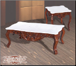 White Marble Cocktail Table Set with Cherry Finish