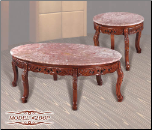 Pink Marble   Cocktail Table Set with Cherry Finish