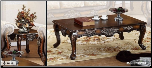 herry Brown Traditional Classic 3Pc Table Set w/Hand Carvings