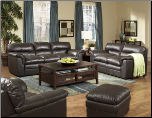 Weston Dark Brown All Leather Living Room Set in Transitional Style, 'Weston' Collection by Homelegance. (SKU: HE- Weston9853-LVNGSET)
