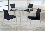 Convenient Compact Dinette with Square Clear Glass Top Table Set by Global Furnither USA