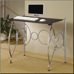 Desks Fold Away Space Saving Desk in Chrome, Silver & Black by Coaster