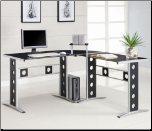 Desks Modern L Shape Desk with Silver Frame & Black Glass by Coaster