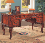 Desks Traditional Double Pedestal Desk with Carved Details by Coaster