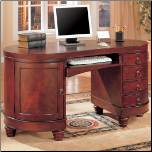 Desks Traditional Kidney Shaped Double Pedestal Computer Desk by Coaster