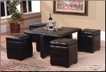 Coffee Table with 4 Storage Ottomans in Dark Brown