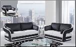 White/Black Ultra Bonded Leather 3 PC Sofa Set (Sofa, Loveseat and Chair) (SKU: GL-UA189)