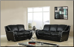 Black Bonded Leather 3 PC Sofa Set with White Trim (Sofa, Loveseat and Chair) (SKU: GL-U8080)