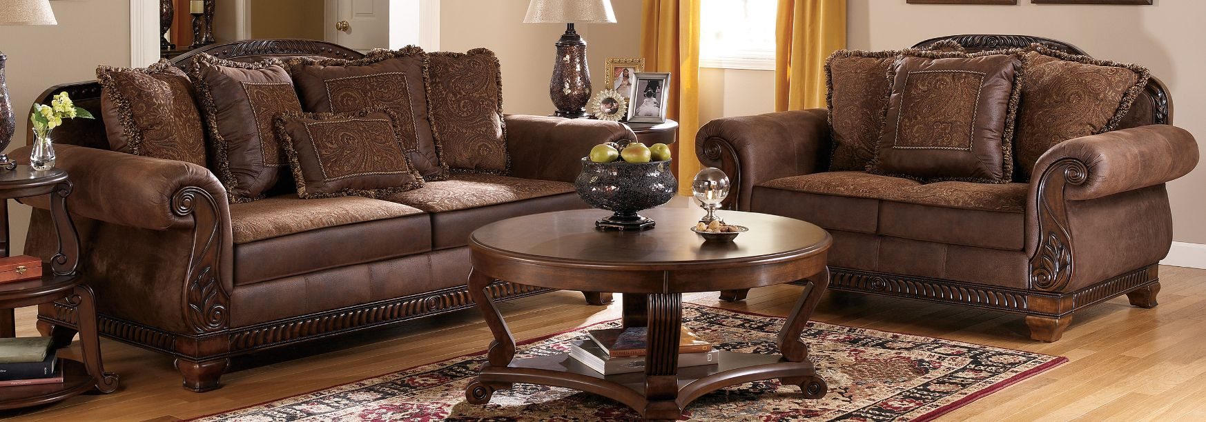 Bradington   Truffle Living Room Set Signature Design By Ashley Furniture