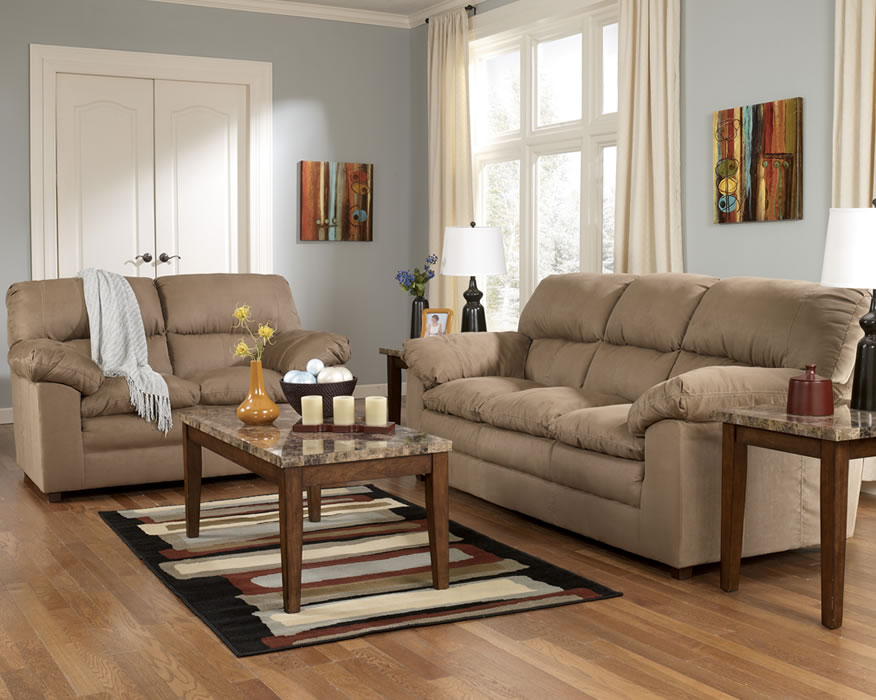 Furniture in brooklyn at for Ashley microfiber sectional with chaise