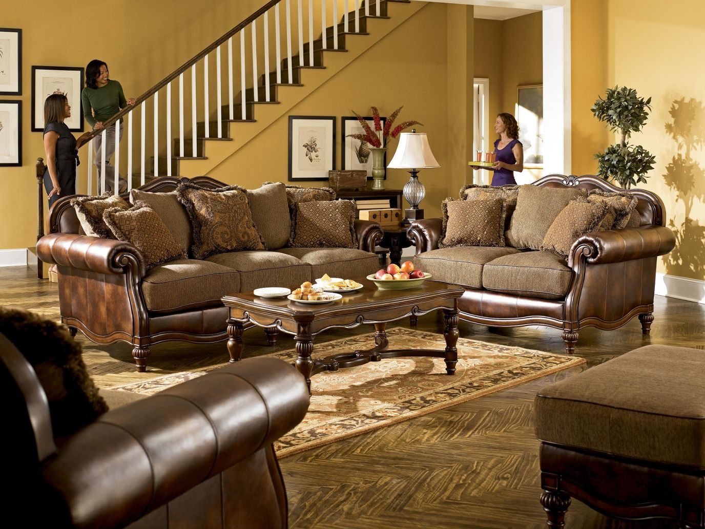 Ashley Furniture Living Room Sets Part - 28: Claremore - Antique Living Room Set By Ashley Furniture