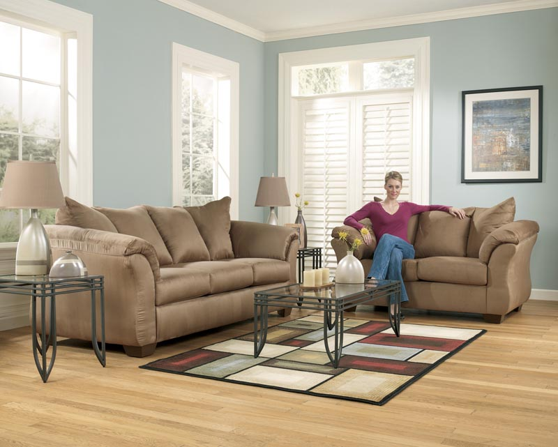 Darcy   Mocha Contemporary Living Room Sofa Set With Accent Pillows By  Signature Ashley