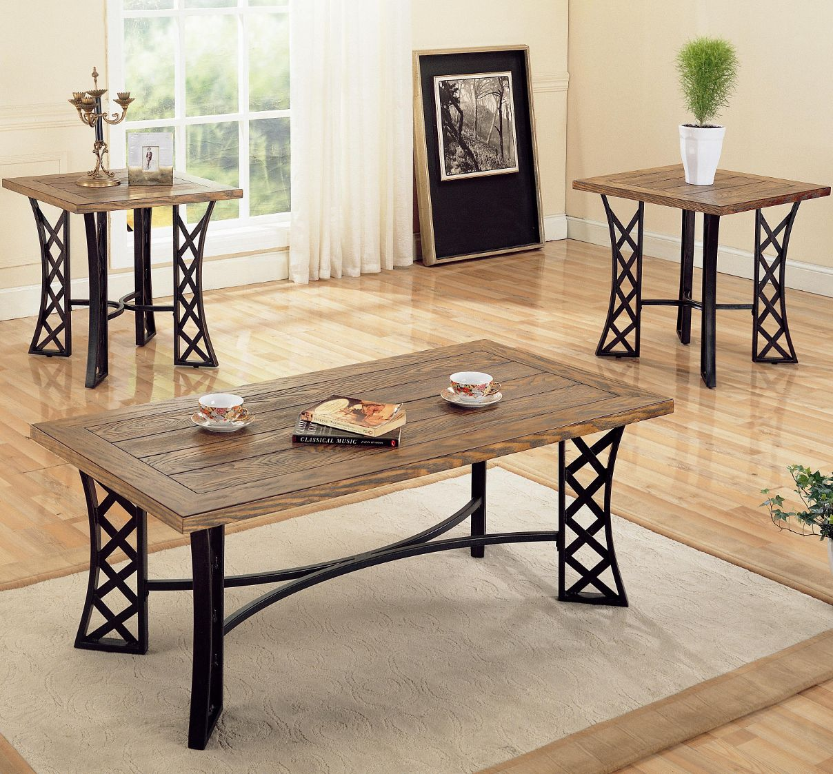 3 piece occasional table sets coffee and end set w metal for Living room 3 piece table sets