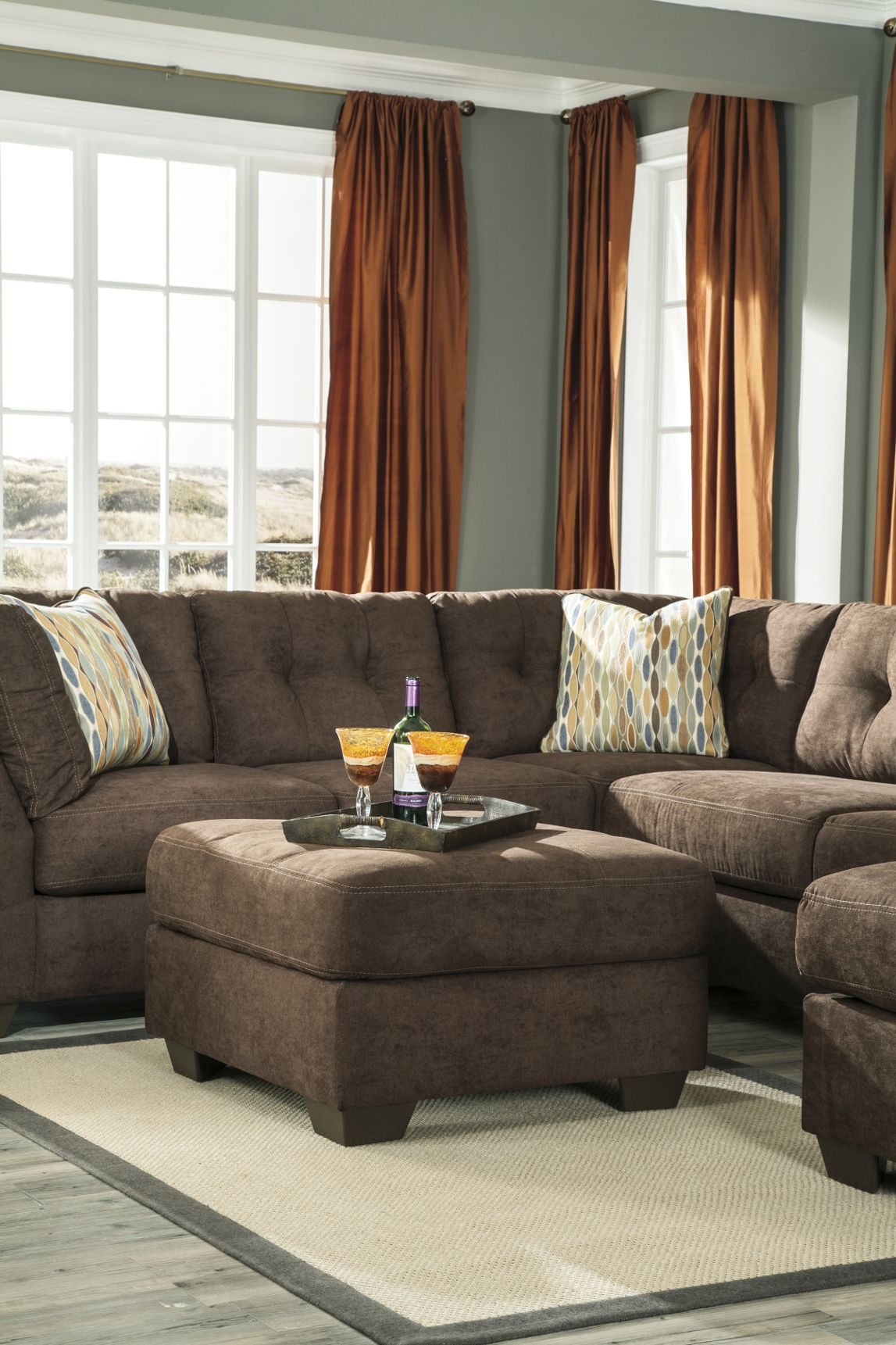 3 PCS Signature Design By Ashley 19700 Delta City Chocolate Sectional