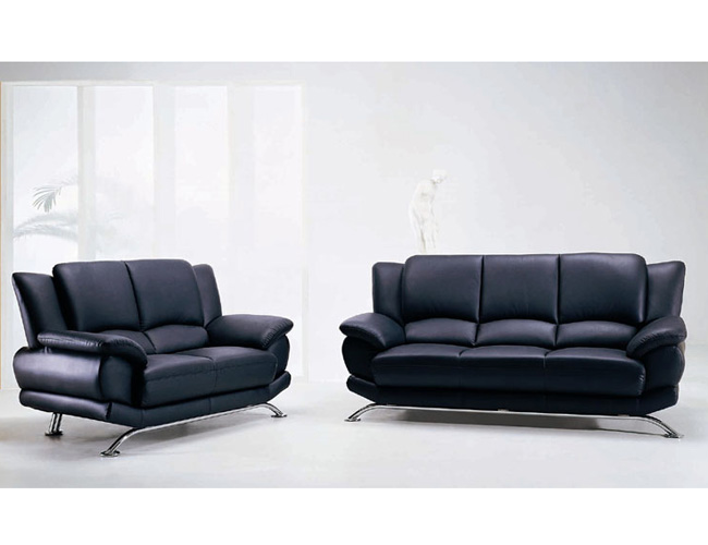 Gentil Global   Modern Sofa And Loveseat Set With Leather Finish Set By Global USA
