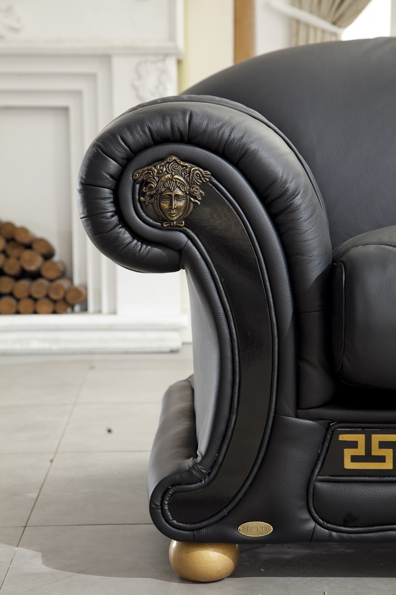ESF   VERSACHI BLACK ITALIAN LEATHER 3 PCS LIVING ROOM SET WITH RHINESTONES  (SOFA, LOVESEAT AND CHAIR) BY ESF FURNITURE